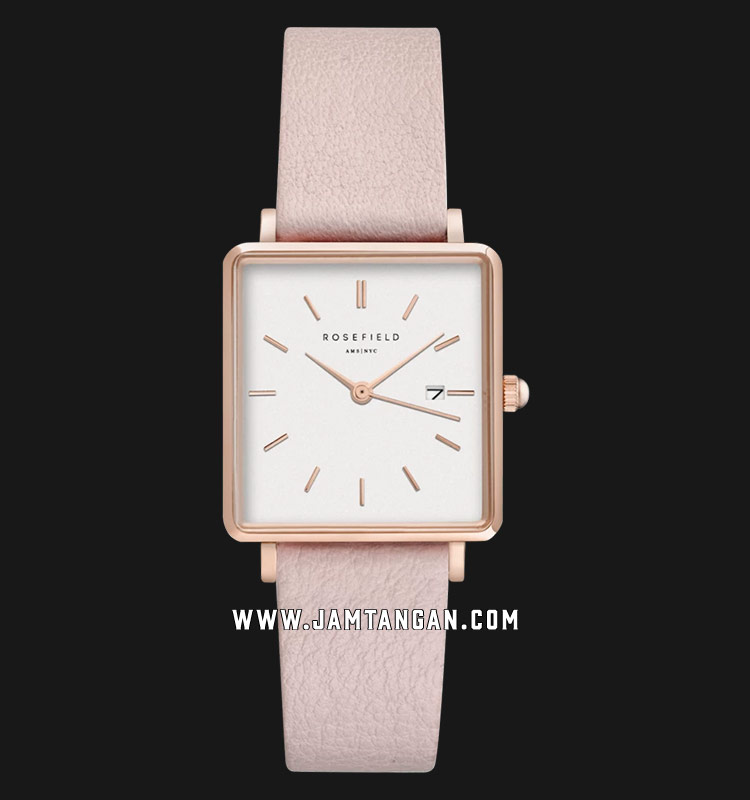 Rosefield QWPR-Q11 Ladies White Dial Pink Leather Strap Machtwatch