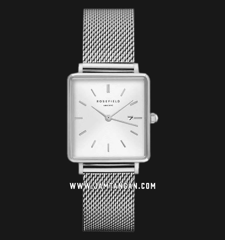 Rosefield QWSS-Q02 Ladies White Dial Silver Mesh Strap Machtwatch