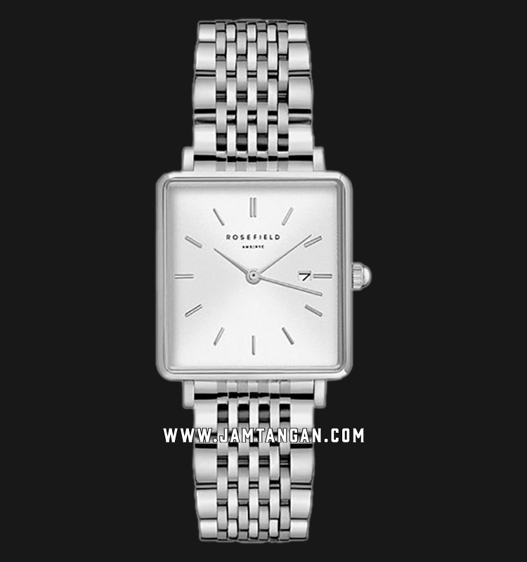 Rosefield QWSS-Q08 Ladies White Dial Silver Stainless Steel Strap Machtwatch