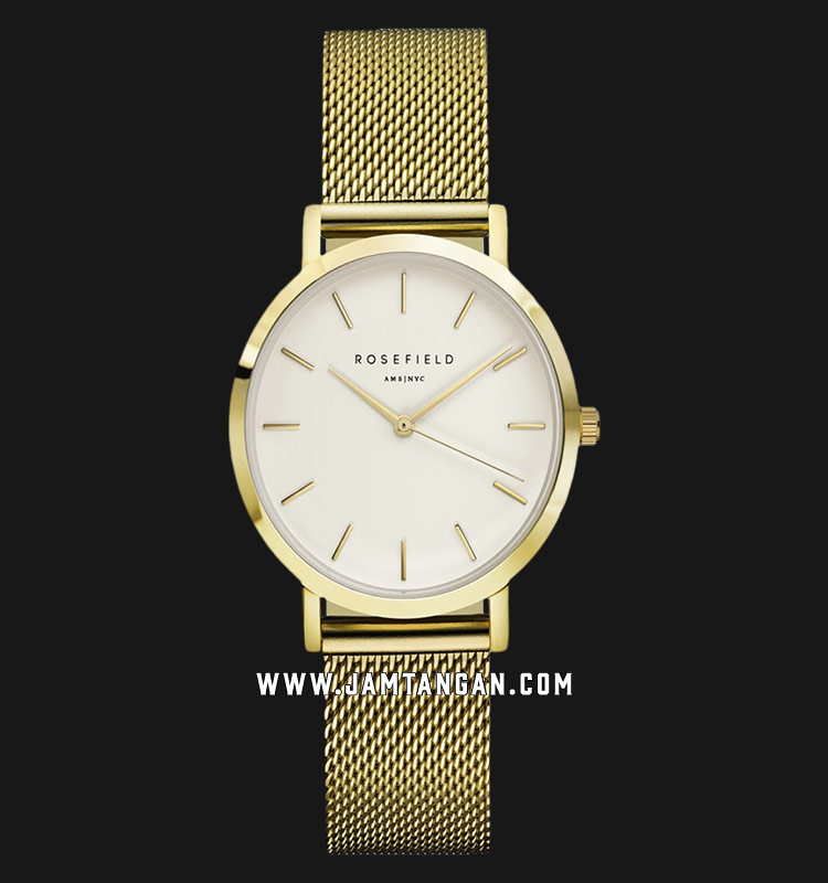 Rosefield TWG-T51 Ladies White Dial Gold Mesh Strap Machtwatch