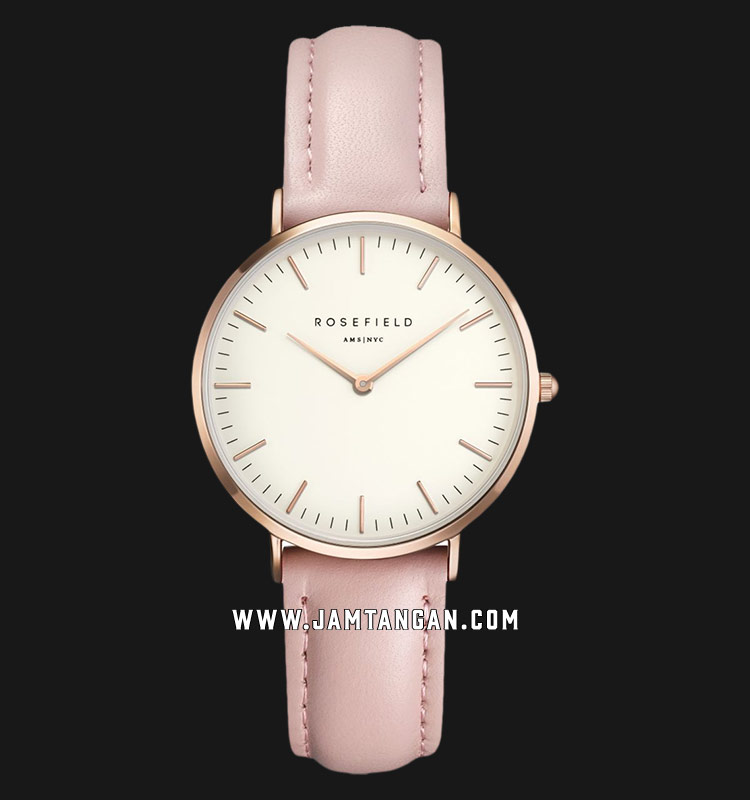 Rosefield TWPR-T58 Ladies White Dial Pink Leather Strap Machtwatch