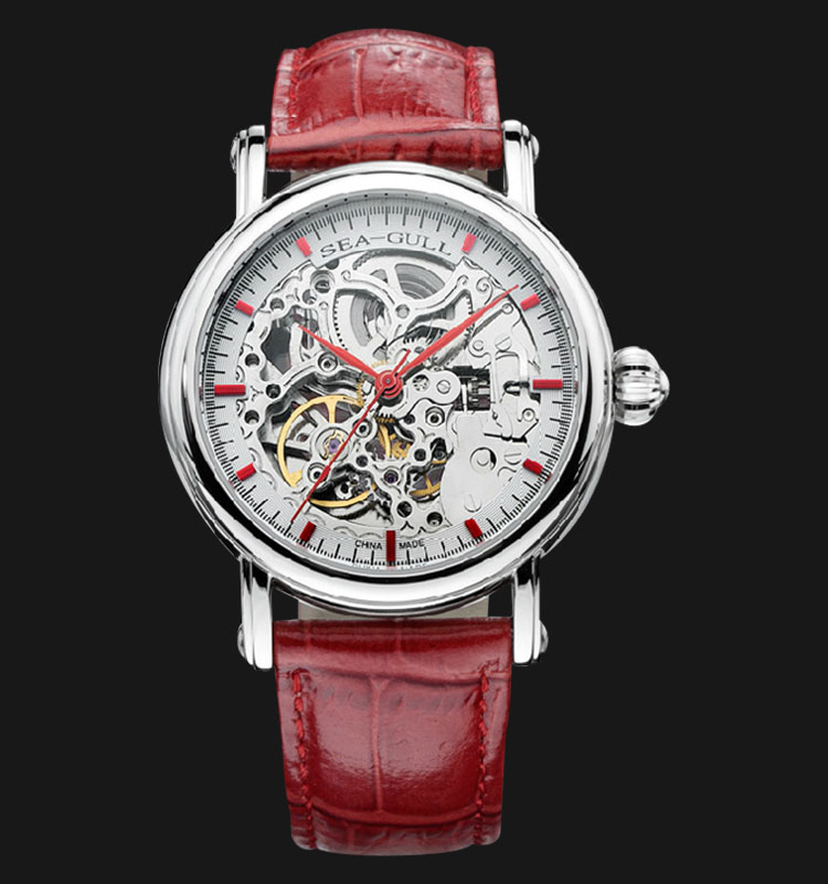 Seagull M182SK-RD - Automatic Mechanical Skeleton Dial Red Leather Machtwatch