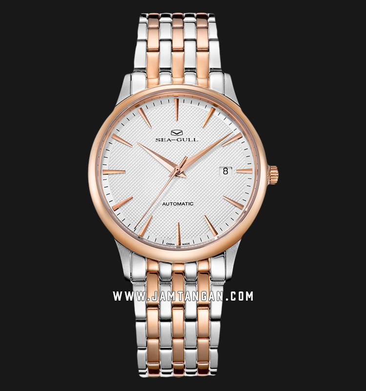 Seagull 217.364 Classic Automatic Mechanical Silver Dial Dual Tone Stainless Steel Strap Machtwatch