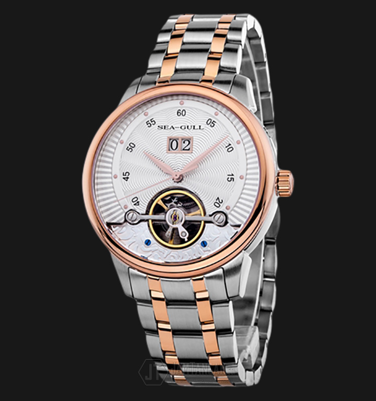 Seagull 217.413 Automatic Mechanical Big Date Flyweel Two-Tone Stainless Steel Machtwatch