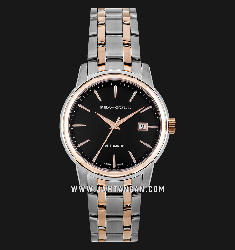Seagull 217.421-BL Classic Simple Business Style Automatic Mechanical Black Dial Stainless Steel Machtwatch