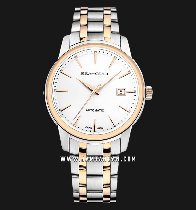 Seagull 217.421-WH Classic Automatic Mechanical White Dial Dual Tone Stainless Steel Strap Machtwatch