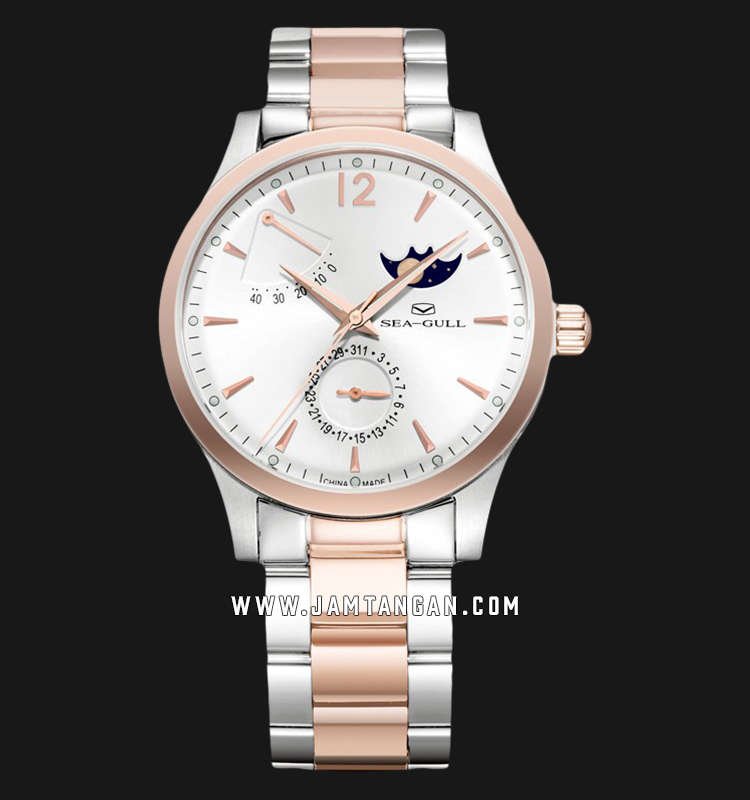 Seagull 217.423 Classic Automatic Mechanical Moonphase Silver Dial Dual Tone Stainless Steel Strap Machtwatch