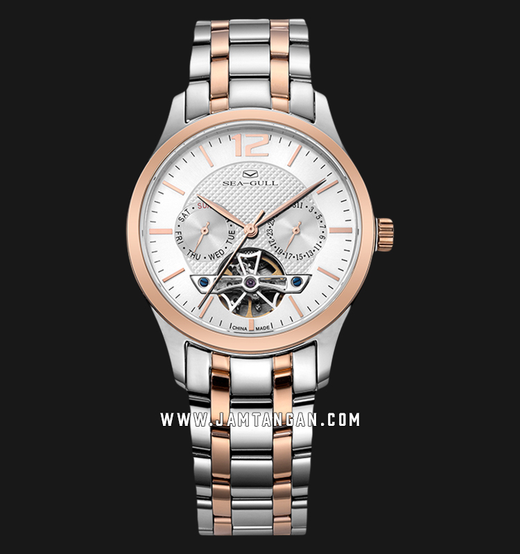 Seagull 217.427-WH Classic Automatic Mechanical White Dial Dual Tone Stainless Steel Strap Machtwatch