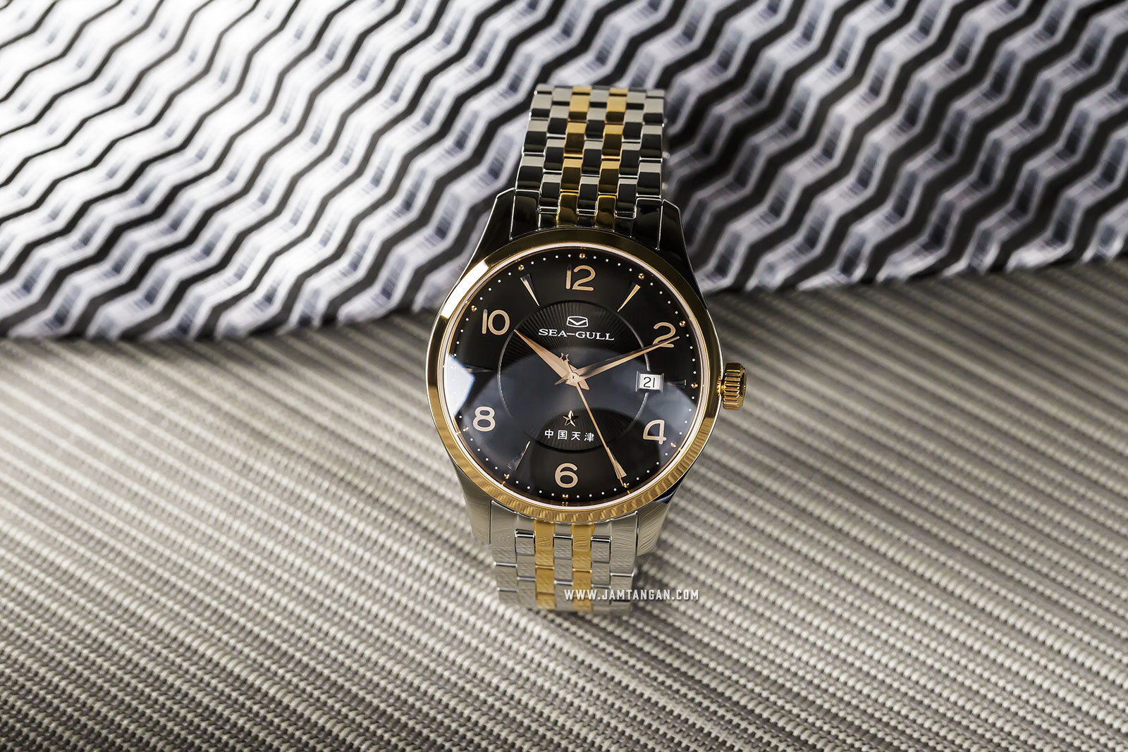 Seagull 217.661 Classic Automatic Mechanical Black Dial Dual Tone Stainless Steel Machtwatch
