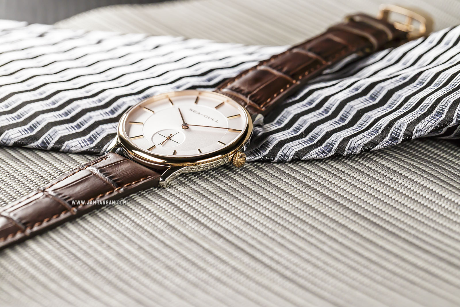 Seagull 219.388 Bauhaus Mechanical Silver Dial Brown Leather Strap Machtwatch