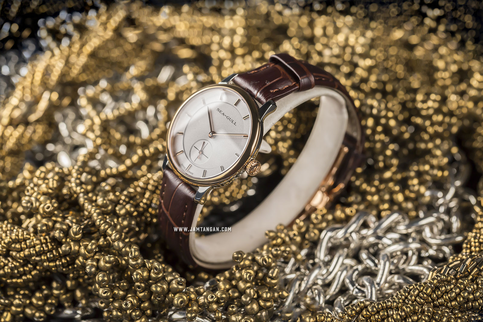 Seagull 219.388L Bauhaus Style Automatic Mechanical Ladies Silver Dial Brown Leather Strap Machtwatch