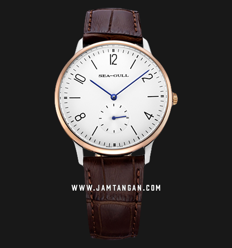 Seagull 219.612-WH - Mechanical White Dial Brown Leather Strap Machtwatch