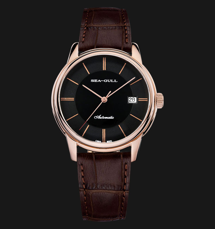 Seagull 519.441 - Automatic Mechanical Ion Plated Rose Gold Brown Leather Machtwatch