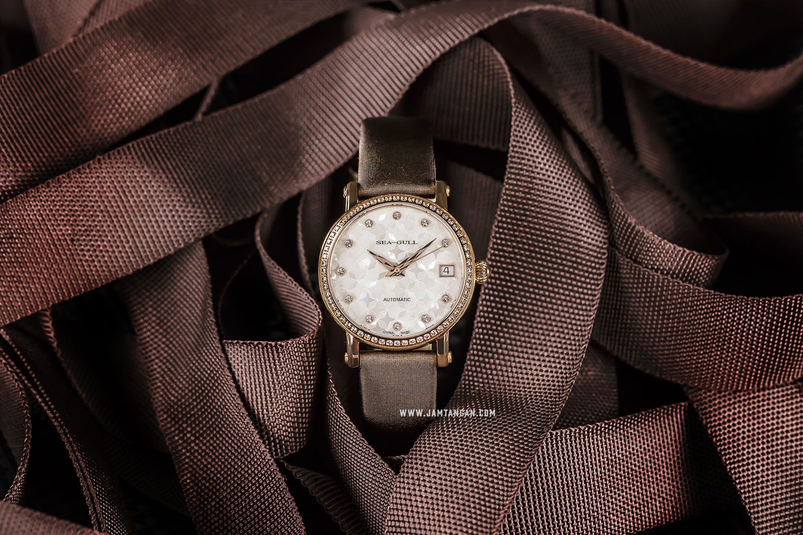 Seagull 719.387 Automatic Mechanical Ladies White Mother of Pearl Dial Brown Leather Strap Machtwatch