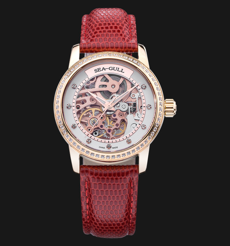 Seagull 719.403LK - Automatic Mechanical Skeleton Dial Red Leather Machtwatch