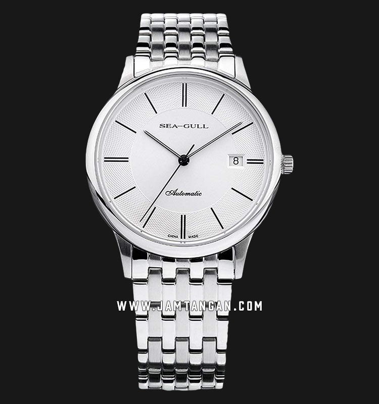 Seagull 816.364-WH Classic Automatic Mechanical White Dial Stainless Steel Strap Machtwatch