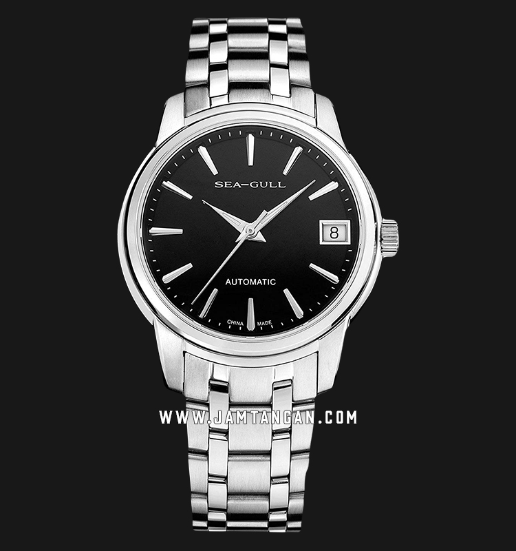 Seagull 816.421-BL Classic Automatic Mechanical Black Dial Stainless Steel Strap Machtwatch