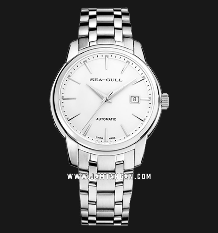 Seagull 816.421-WH Classic Automatic Mechanical White Dial Stainless Steel Strap Machtwatch