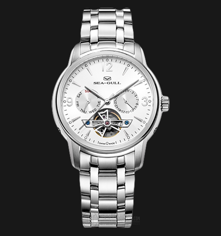 Seagull 816.424-WH Automatic Mechanical Day Date Flying Wheel Stainless Steel Machtwatch