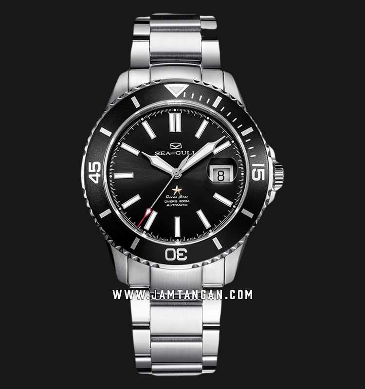Seagull 816.523-BL Ocean Star Automatic 200M Dive Black Dial Stainless Steel Strap Machtwatch