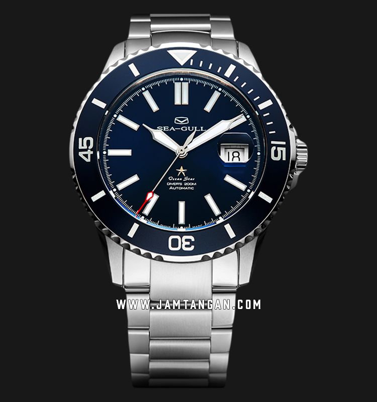 Seagull 816.523-BU Ocean Star Automatic 200M Dive Blue Dial Stainless Steel Strap Machtwatch