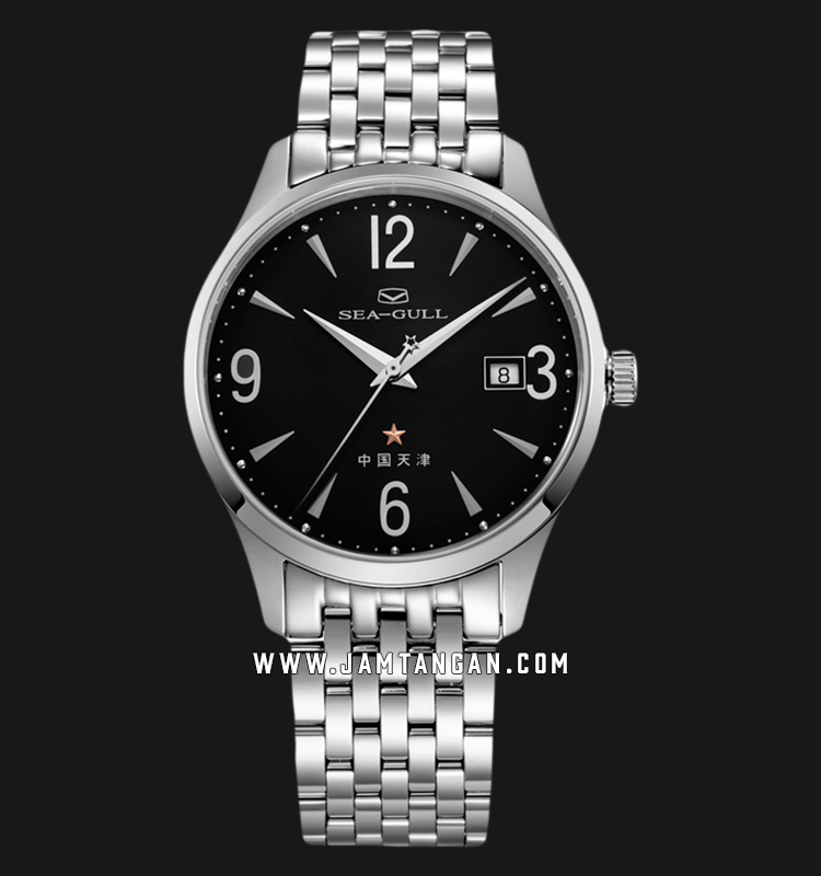 Seagull 816.661-BL Classic Automatic Mechanical Black Dial Stainless Steel Strap Machtwatch