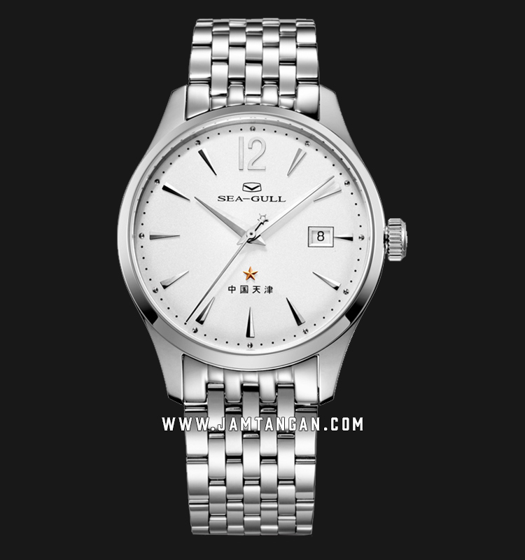 Seagull 816.661-WH Classic Automatic Mechanical White Dial Stainless Steel Strap Machtwatch