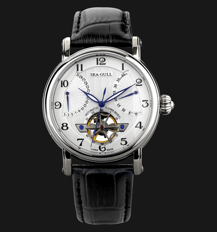 Seagull 819.317 - Automatic Mechanical Flying Wheel Black Leather Machtwatch