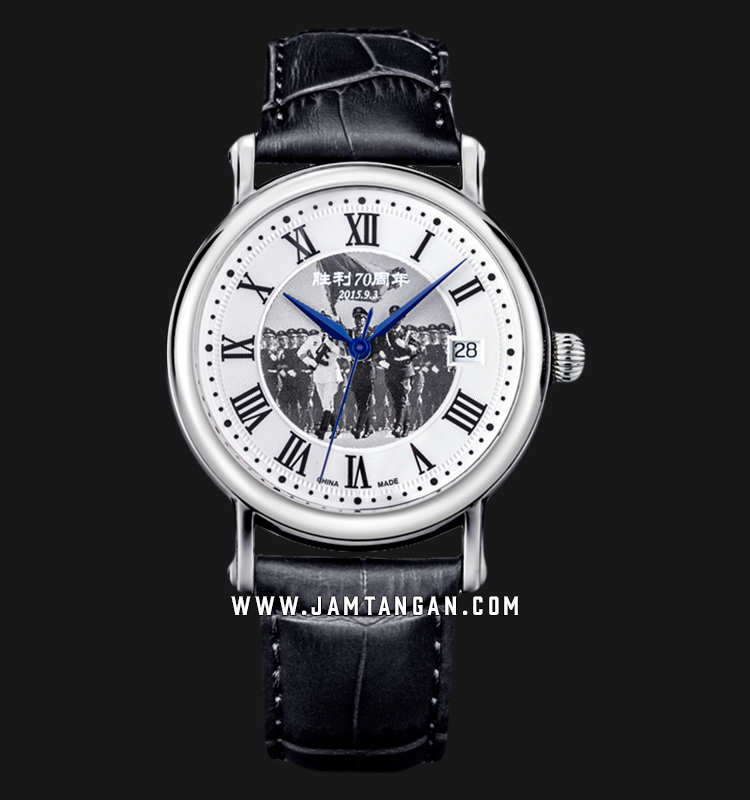 Seagull 819.368YB Classic Automatic Mechanical Silver Dial Black Leather Strap FOUNDATION SERIES Machtwatch