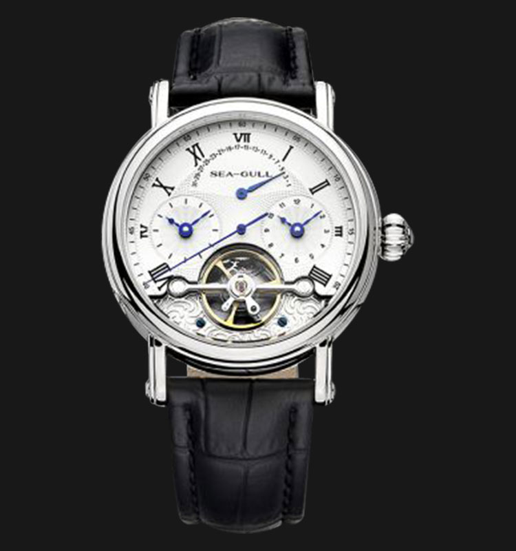 Seagull 819.380 - Automatic Mechanical Open Heart Black Leather Machtwatch