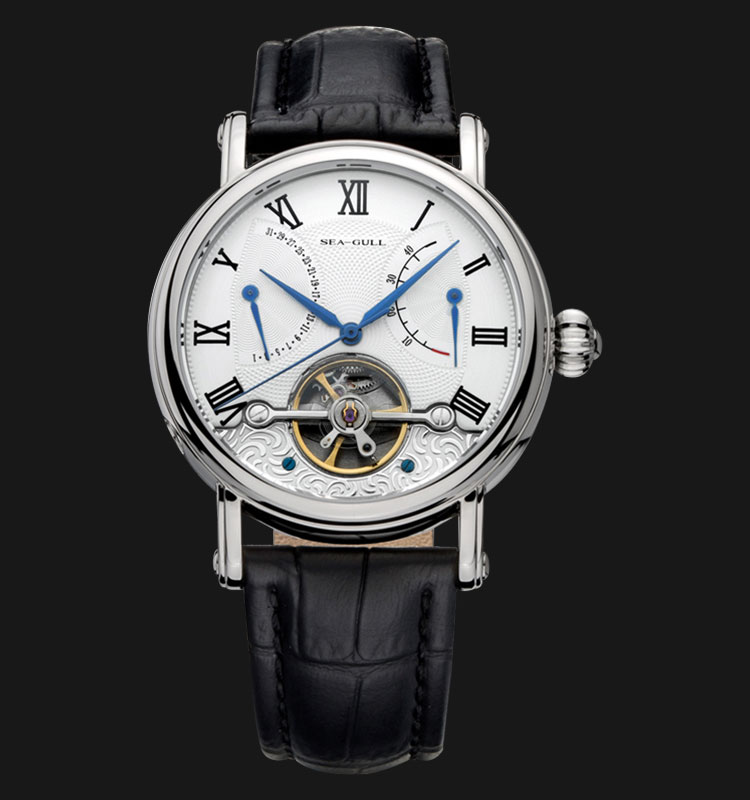 Seagull 819.381 - Automatic Mechanical Open Heart Black Leather Machtwatch