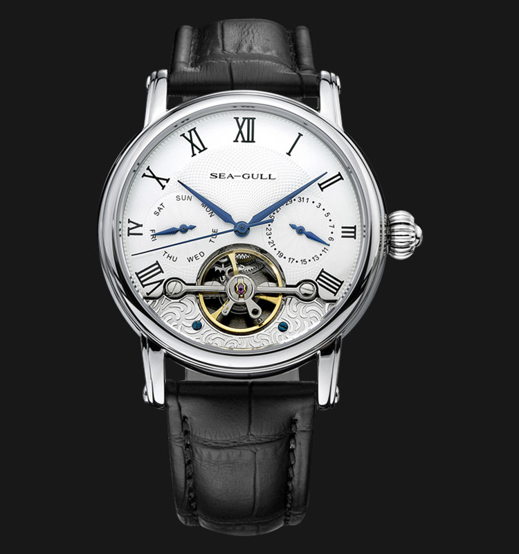 Seagull 819.383 - Automatic Mechanical Open Heart Black Leather Machtwatch