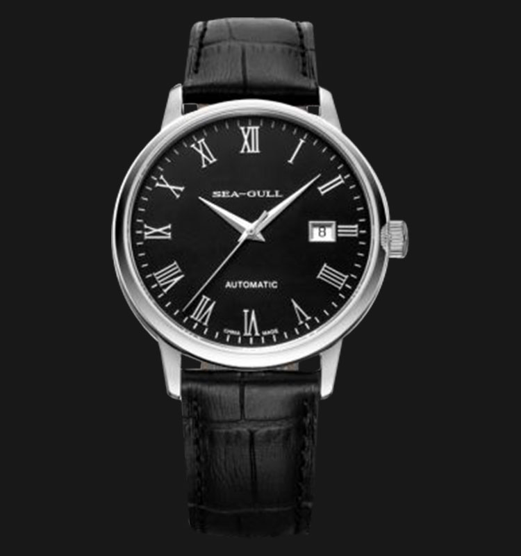 Seagull 819.613HR - Automatic Mechanical Black Leather Machtwatch