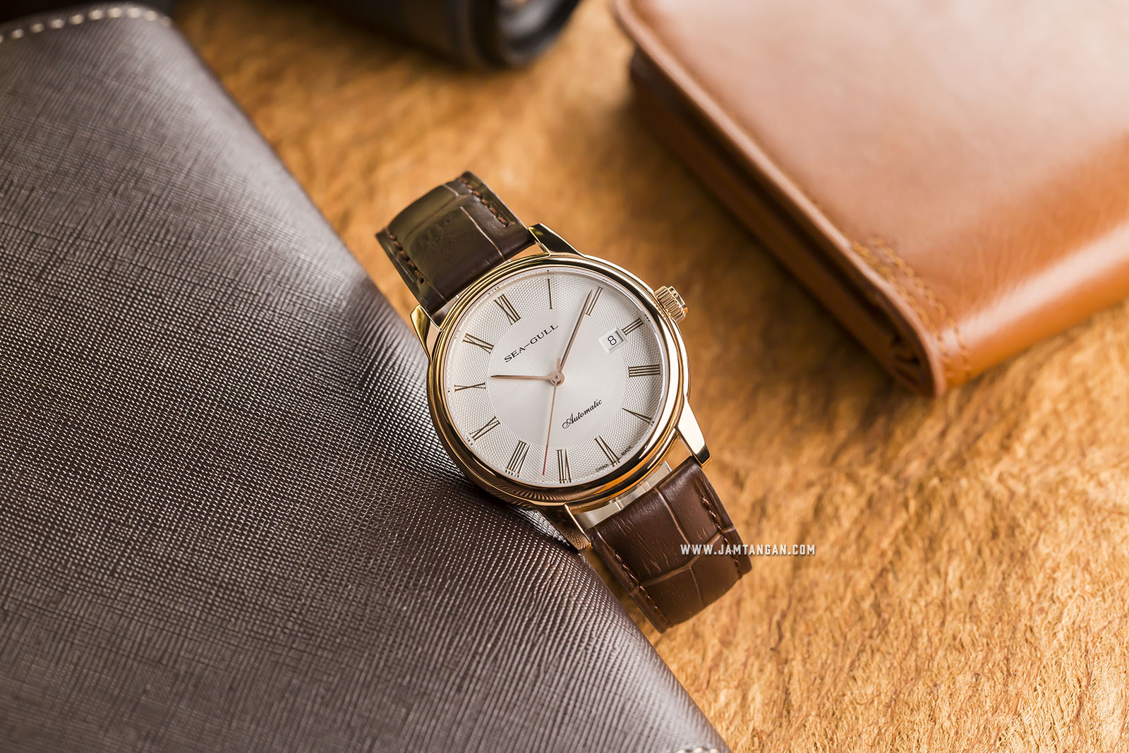 Seagull D519.405 Classic Automatic Mechanical White Dial Brown Leather Strap Machtwatch