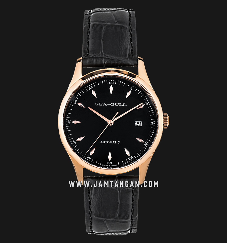 Seagull D519.447-BL Classic Automatic Mechanical Black Dial Black Leather Strap Machtwatch