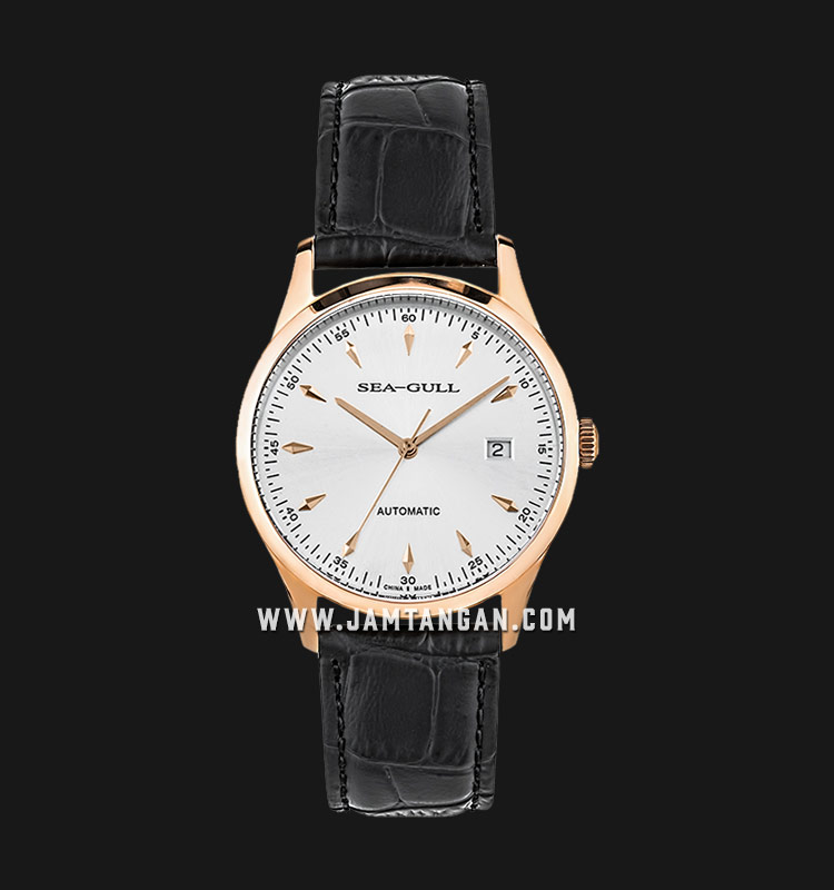 Seagull D519.447-WH Classic Automatic Mechanical Silver Dial Black Leather Strap Machtwatch