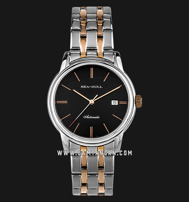 Seagull D817.405-BL Classic Automatic Mechanical Black Dial Dual Tone Stainless Steel Machtwatch