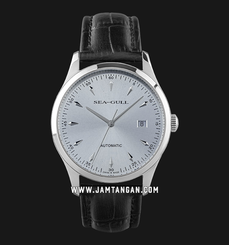 Seagull D819.447-WH Classic Automatic Mechanical Silver Dial Black Leather Strap Machtwatch