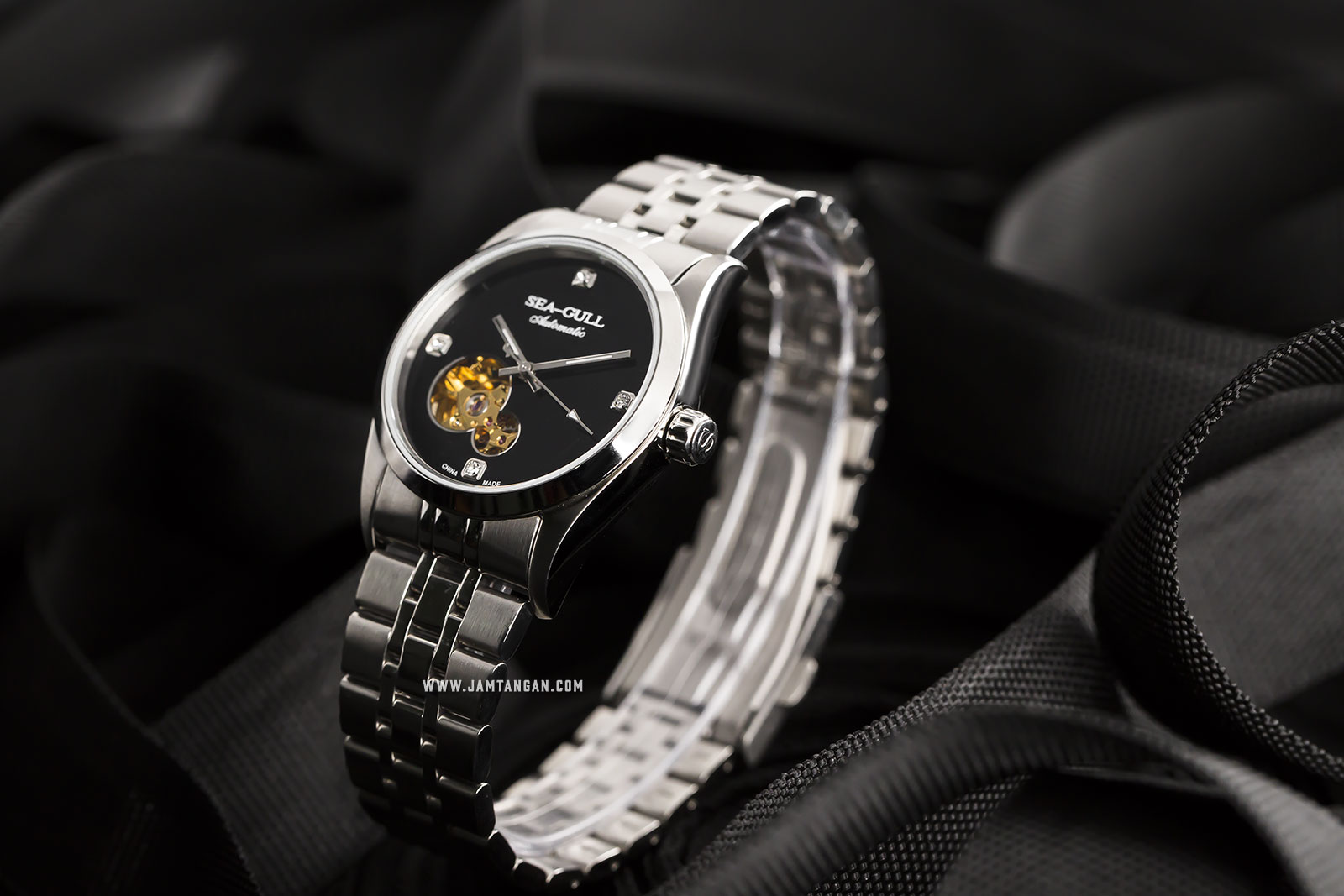 Seagull M149SK Classic Automatic Mechanical Sea-Gull Black Dial Stainless Steel Machtwatch