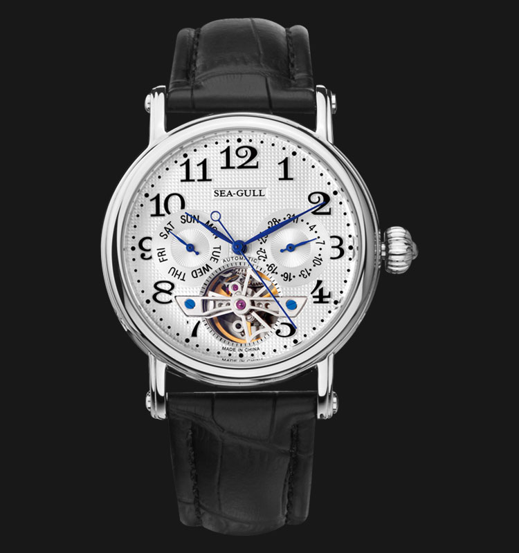 Seagull M170SL - Automatic Mechanical Open Heart Black Leather Machtwatch