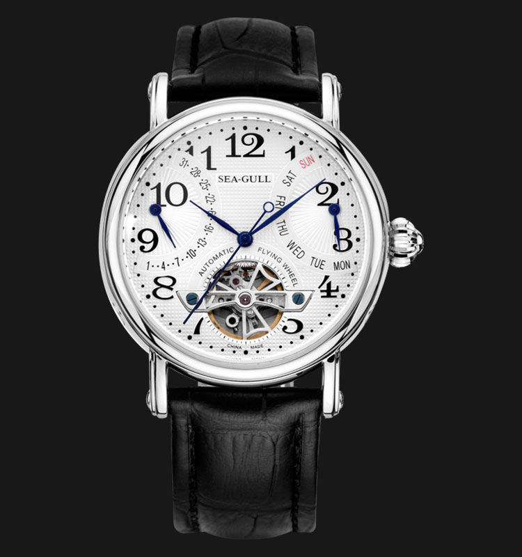 Seagull M171S - Automatic Mechanical Flying Wheel Black Leather Machtwatch