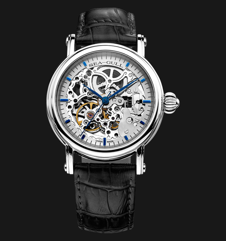 Seagull M182SK-BL - Automatic Mechanical Skeleton Dial Black Leather Machtwatch