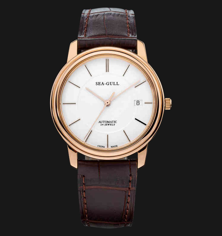 Seagull M201SG - Automatic Mechanical Watch Black Leather Machtwatch