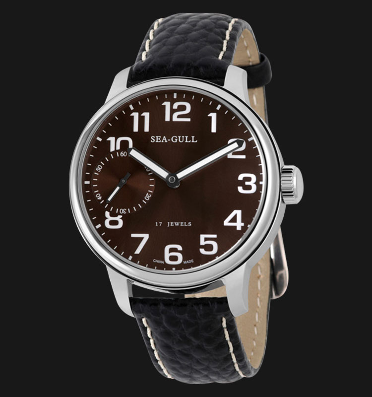 Seagull M222S-BR - Manual Mechanical Black Leather Strap Machtwatch