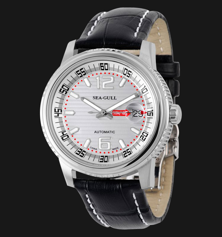 Seagull M306S - Automatic Mechanical Black Leather Machtwatch