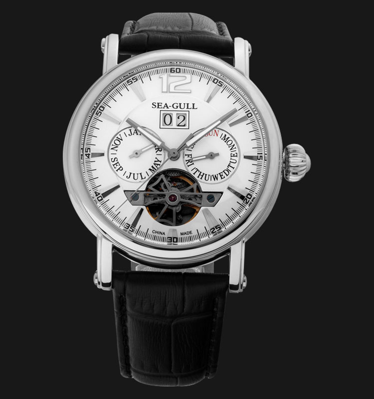 Seagull M307S - Automatic Mechanical Open Heart Black Leather Machtwatch