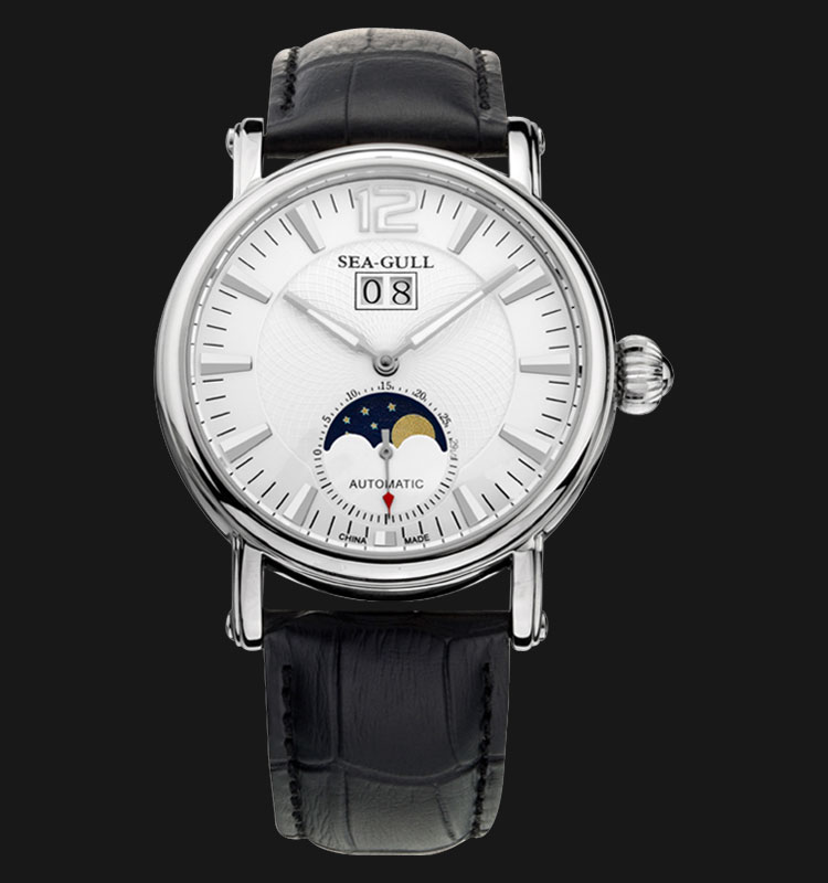 Seagull M308S - Automatic Mechanical Moon Phase Black Leather Machtwatch