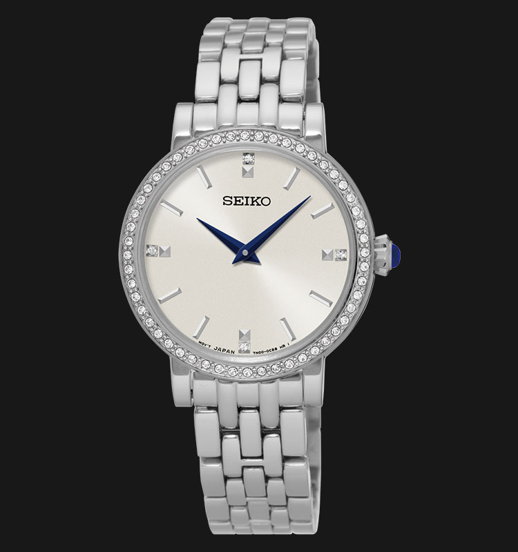 Seiko Ladies SFQ811P1 Swarovski Crystal Dial Stainless Steel Bracelet Machtwatch