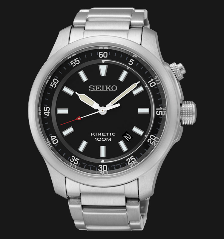 Seiko Kinetic SKA685P1 Black Dial Stainless Steel Bracelet Machtwatch