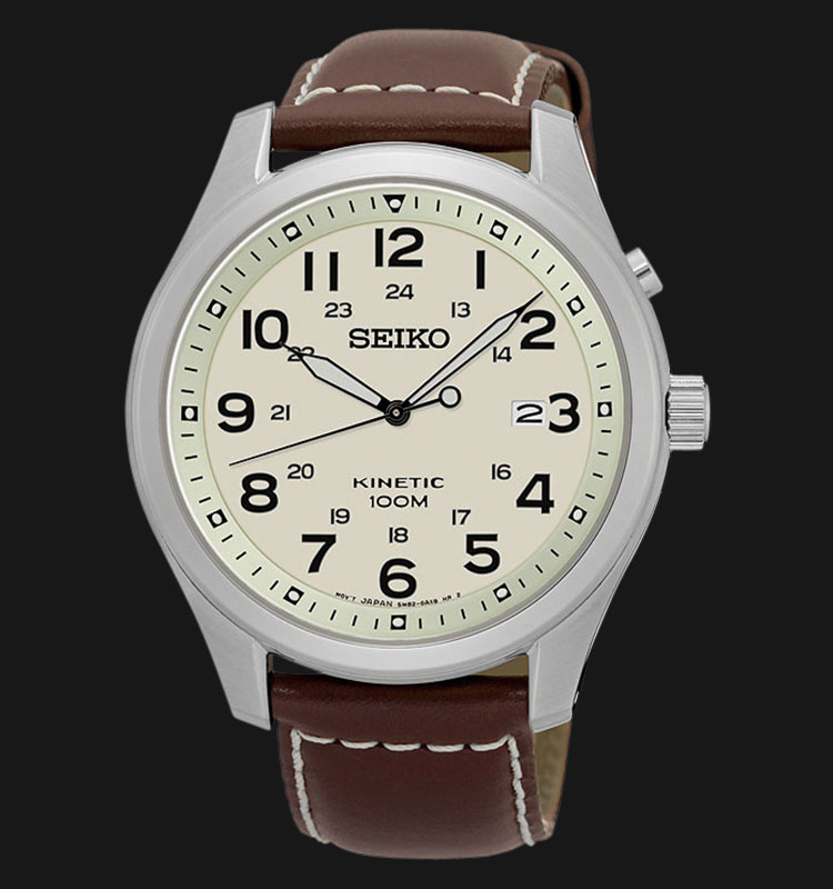 Seiko Kinetic SKA723P1 Silver Case Beige Dial Brown Leather Strap Machtwatch